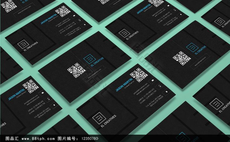 黑色创意二维码名片_名片素材_名片模板_图品汇