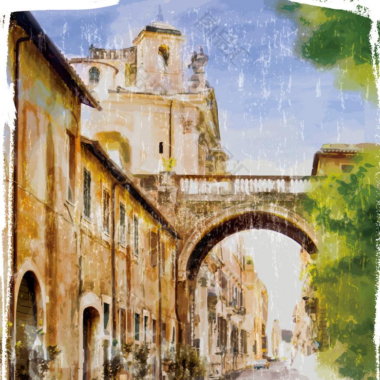 复古城市水彩画图片
