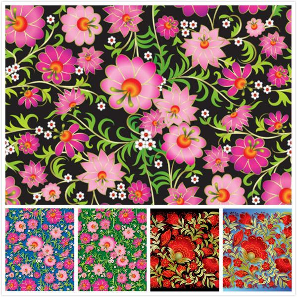 四方连续无缝花卉图案