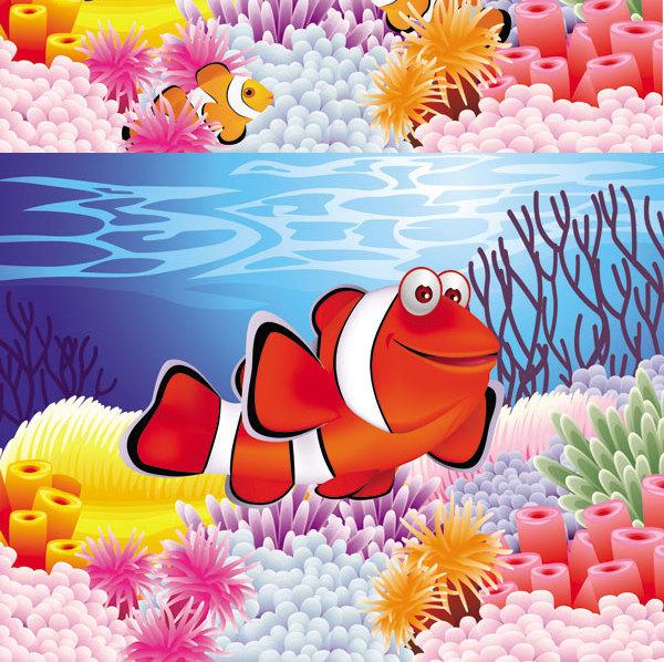 卡通海底風景