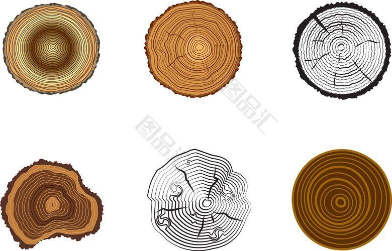 图品汇 设计元素 卡通手绘 木头年轮矢量素材  上图作品的源文件由图