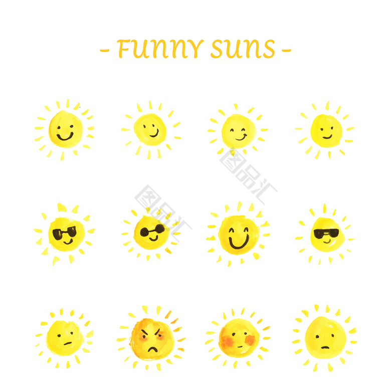 12款手绘太阳表情矢量素材免费下载_图品汇www.88tph.