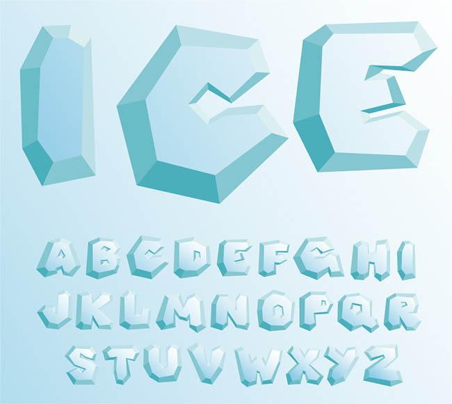 26个冰块大写字母设计矢量图免费下载 图品汇