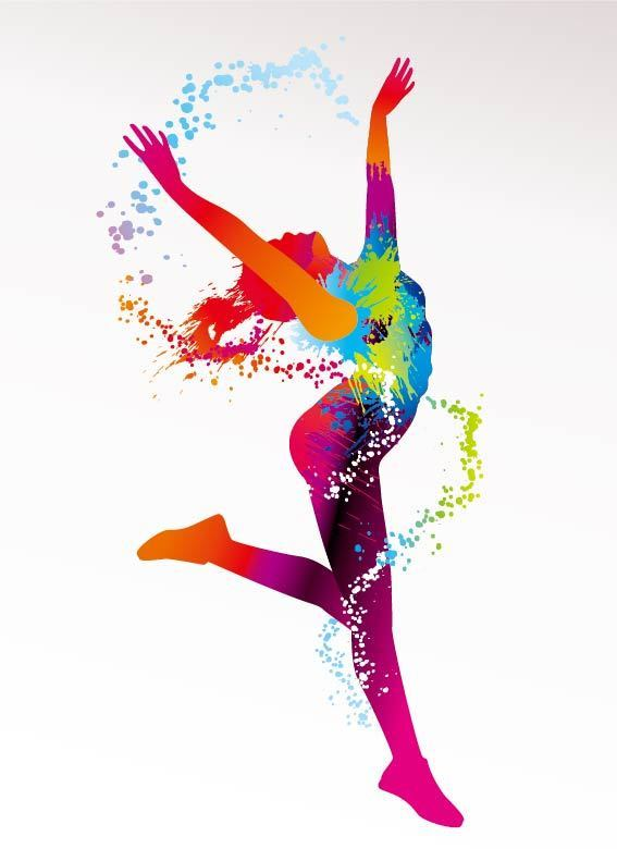 彩色舞蹈人物剪影