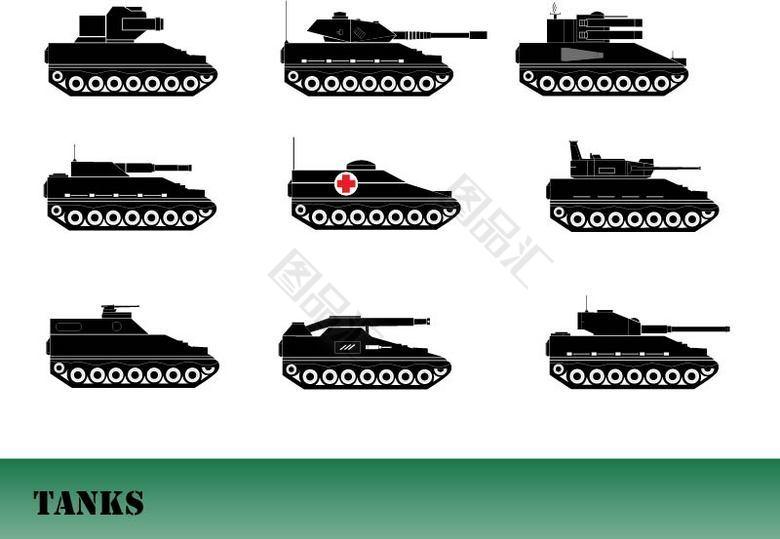 坦克剪影创意素材免费下载_图品汇www.88tph.com