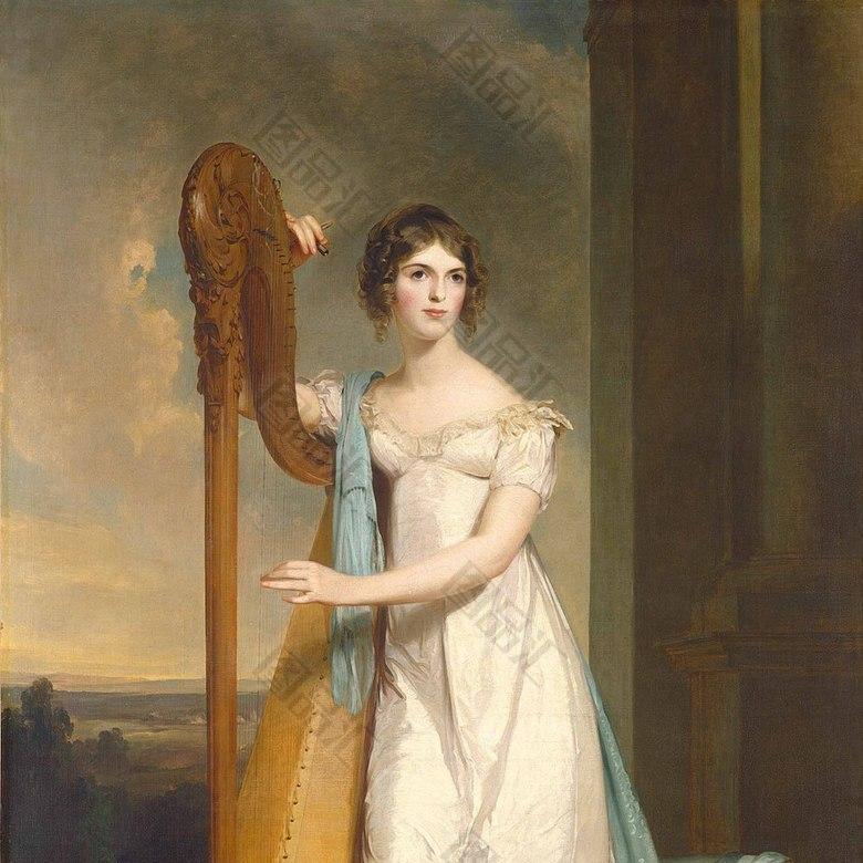 弹女孩的手表白衣女生油画装饰画宫廷竖琴哪些适合图片