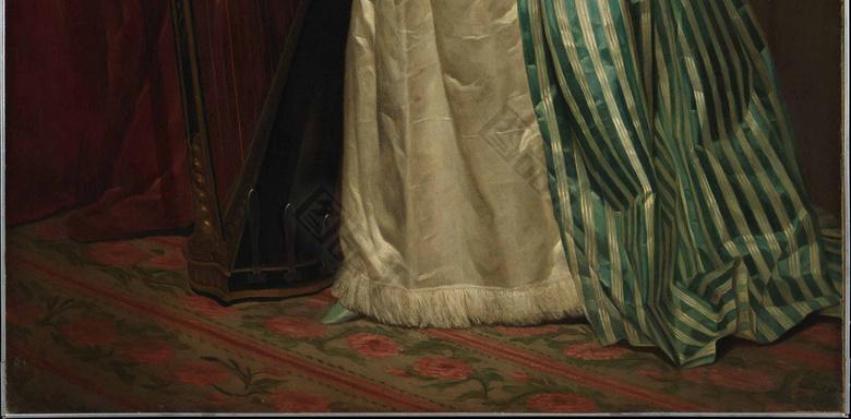 弹女孩的长裙衣服油画竖琴装饰画的脱日本女生宫廷图片