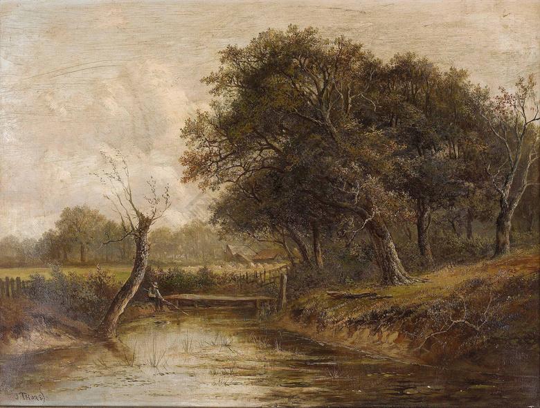 装饰设计 北欧装饰画 河边枯树无框画  河边枯树无框画 风景油画 风景