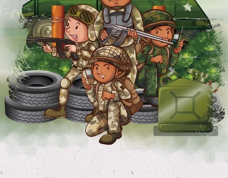 学生军训,军训背景,卡通学生背景,卡通人物学生展板,军训,此素材下载