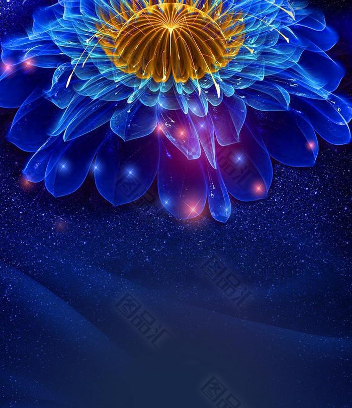 幻想绚丽花朵h5背景 图品汇